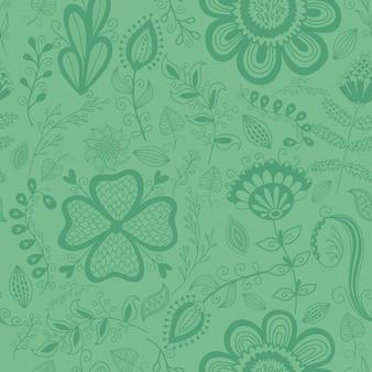 Wzór w stylu vintage doodle kwiaty ptaki liście i trawa retro design