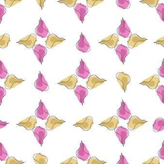 Wzór w stylu vintage w geometrycznym stylu z beżowymi i różowymi kształtami gruszki owocowej