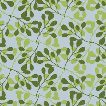 Wzór w stylu vintage wiosna z zielonymi białymi kształtami eukaliptusa