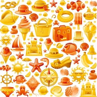 Wzór wakacje bezszwowe morze plaża. kreskówka tapeta tło z ikonami reszty oceanu - walizka, muszla, zamek z piasku, lody, słomkowy kapelusz.