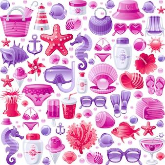 Wzór wakacje bezszwowe morze plaża. śliczne tło tapety z kreskówek z ikonami odpoczynku oceanu - rozgwiazda, maska do nurkowania, rafa koralowa, torba plażowa, lody, konik morski.