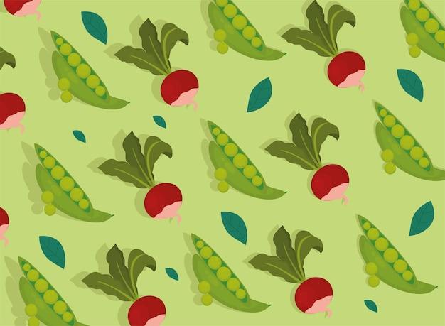 Wzór warzyw buraków i fasoli