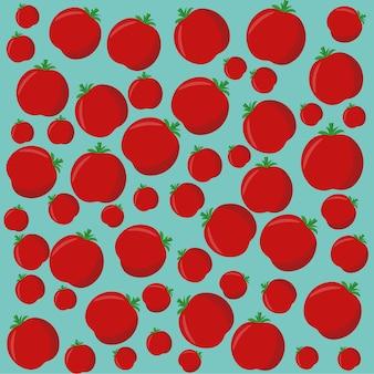 Wzór warzyw ze świeżych czerwonych pomidorów na niebieskiej powierzchni kreatywnych warzyw koncepcji.