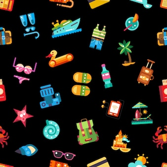 Wzór wektor nowoczesne ikony wakacje nad morzem i elementy infografiki