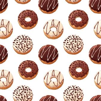 Wzór wektorowi donuts dekorujący z polewami