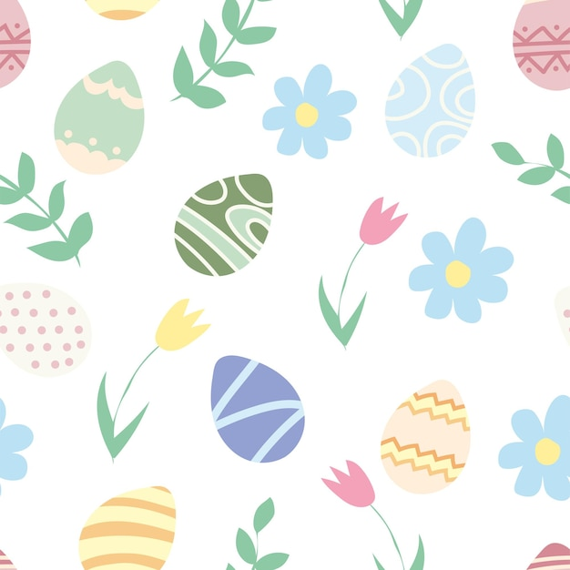 Wzór wielkanocny z różowym, niebieskim, zielonym jajkiem i kwiatami. idealny do tapet, papieru prezentowego, wypełnień deseniem, tła strony internetowej, kartek z życzeniami wiosennymi i wielkanocnymi