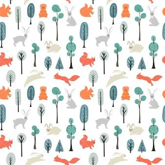Wzór. wiewiórki, zające na tle drzew, roślin. ilustracje w stylu skandynawskim.