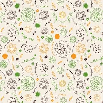 Wzór wiosennych kwiatów ręcznie rysowane