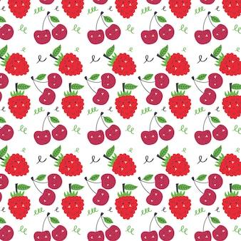 Wzór wiśni i malin. owoce bezszwowe czerwone różowe tło wektor