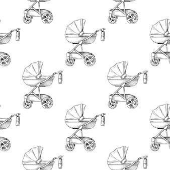 Wzór. wózek, wózek na białym tle szkic stylu.