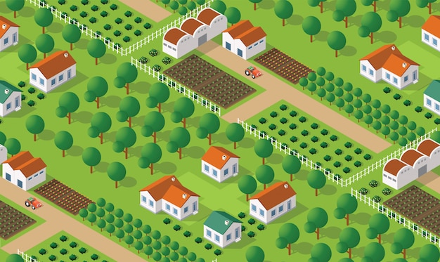 Wzór wsi isometrics