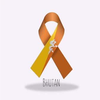 Wzór wstążki flagi bhutanu