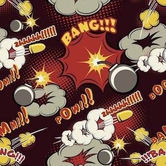Wzór wybuchu komiksu. tło, boom i chmura, kreskówka i projektowanie, komiks i huk.