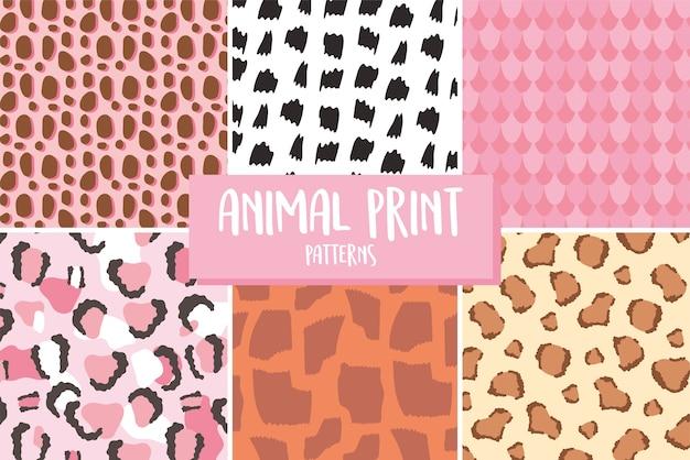 Wzór wydruku skóry zwierząt, różne tekstury bez szwu powtarzanej ilustracji wektorowych