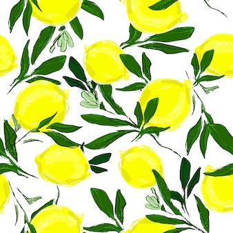 Wzór wydruku z ręcznie rysowanymi cytrynami i liśćmi.
