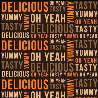 Wzór wykonany ze słów o pysznym jedzeniu