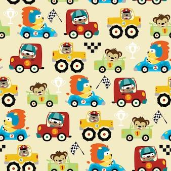 Wzór wyścigów samochodowych kreskówka z zabawnym zawodnikiem