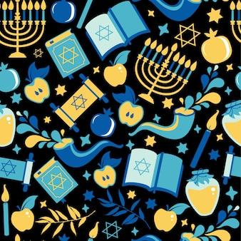 Wzór yom kippur ze świecami, jabłkami i szofarem oraz symbolami. tło żydowskie wakacje.