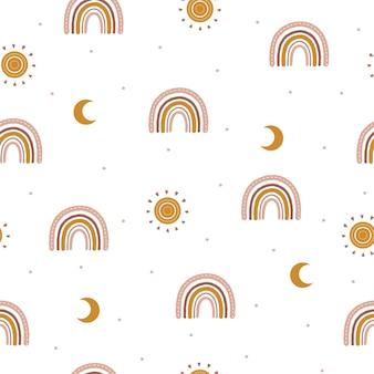 Wzór z abstrakcyjnej tęczy boho i księżyca.