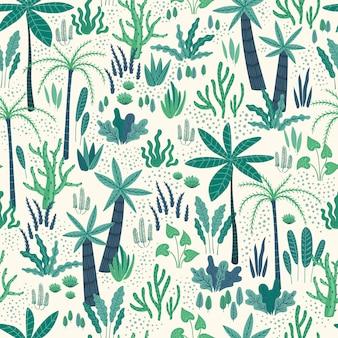 Wzór z abstrakcyjnych roślin tropikalnych.