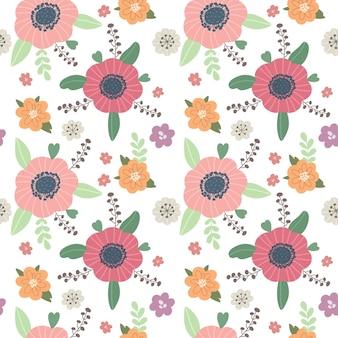 Wzór z abstrakcyjnymi kwiatami w stylu boho w stylu skandynawskim ilustracja wektorowa