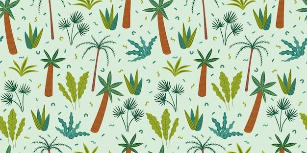 Wzór z abstrakcyjnymi roślinami tropikalnymi.