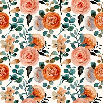 Wzór z akwarela brązowy kwiat