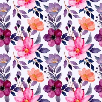Wzór z akwarela fioletowy kwiat i różowy kwiat
