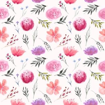 Wzór z akwarela fioletowy kwiat