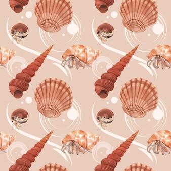 Wzór z akwarela ilustracja koncepcja życia morskiego