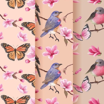Wzór z akwarela ilustracja kwiat ptak koncepcja projektowania