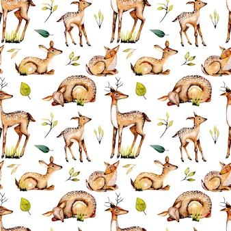 Wzór z akwarela jelenie, jelenie dziecka i kwiatowymi elementami