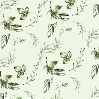 Wzór z akwarela kwiatowy i liści