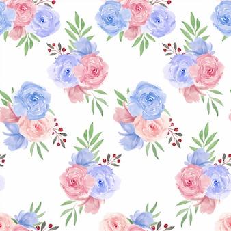 Wzór z akwarela różowy niebieski kwiat róży