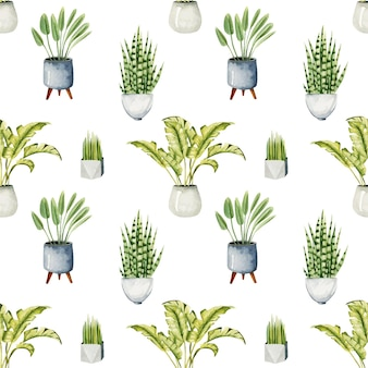 Wzór z akwarelowymi roślinami doniczkowymi