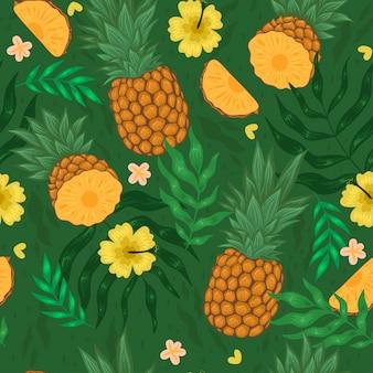 Wzór z ananasami, kwiatami i liśćmi. grafika wektorowa.