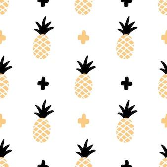 Wzór z ananasem w ręcznie rysowanym stylu