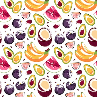 Wzór z bananami awokado kokosowe figi arbuz na białym tle
