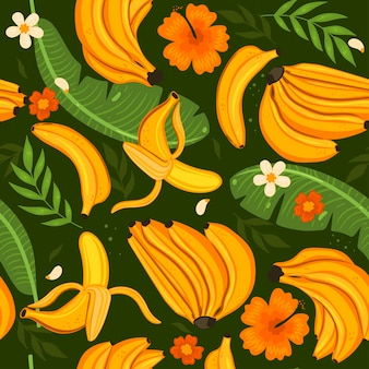 Wzór z bananami, liśćmi i kwiatami. grafika wektorowa.