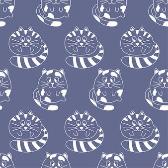 Wzór z białym konturem koty na niebieskim tle. idealny do projektowania dla dzieci, tkanin, opakowań, tapet, tekstyliów, wystroju domu.