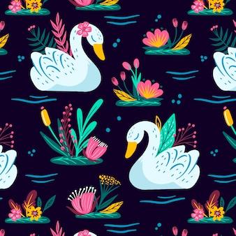 Wzór z białym łabędziem i kolorowymi kwiatami