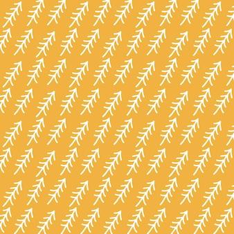 Wzór z białymi choinkami na żółtym tle