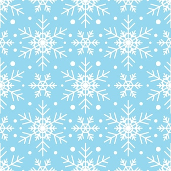 Wzór z białymi płatkami śniegu na niebieskim tle. świąteczna zima tradycyjna dekoracja na nowy rok, boże narodzenie, święta i projekt. ozdoba prostego płatka powtarzającego się płatka śniegu