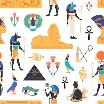Wzór z bogami, bóstwami i mitologicznymi stworzeniami z mitologii i religii starożytnego egiptu, świętymi zwierzętami, symbolami, architekturą i rzeźbą. ilustracja kolorowy płaski wektor.