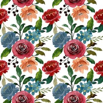 Wzór z bordowym kwiatowy akwarela