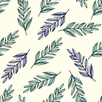 Wzór z botanicznym ornamentem liści. stylizowany kontur gałąź pozostawia w kolorach zielonym i niebieskim na białym tle. do tapet, tekstyliów, opakowań, tkanin. ilustracja.