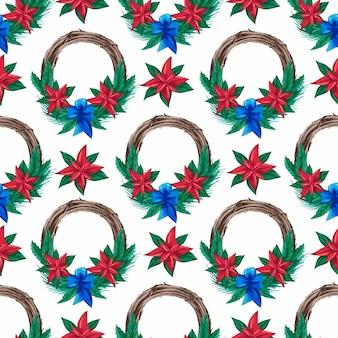 Wzór z bożonarodzeniowymi wieńcami akwarela