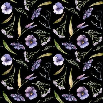 Wzór z bratkami i krwawnikiem pospolitym akwarela halloweenowe ilustracje fioletowe motyle