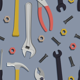Wzór z budową, instrumenty do naprawy domu. ilustracji wektorowych.
