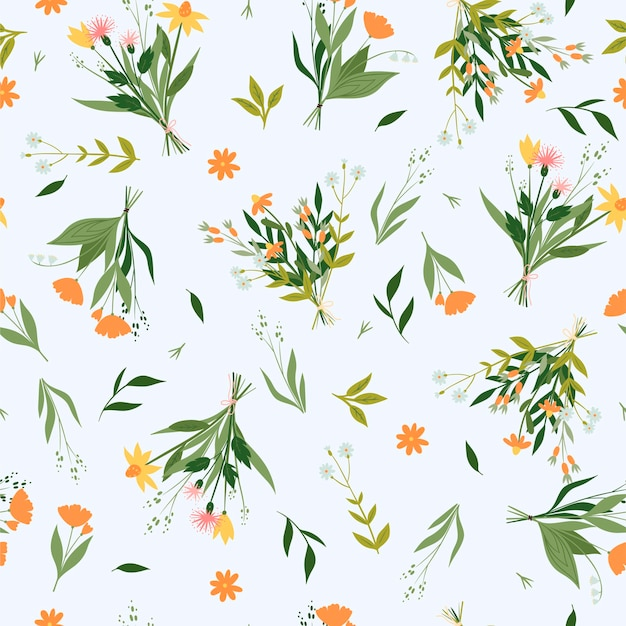 Wzór z bukietami kwiatów